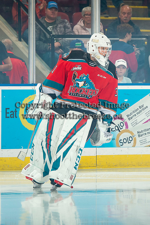 KELOWNA, BC - OCTOBER 16: Cole Schwebius #31 of the Kelowna Rockets skates against the Swift Current Broncos  at Prospera Place on October 16, 2019 in Kelowna, Canada. (Photo by Marissa Baecker/Shoot the Breeze)