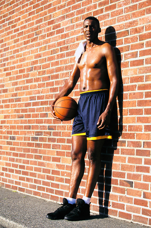 Gerald Edwards after a pickup basketball game. Made for his modeling composite and portfolio.