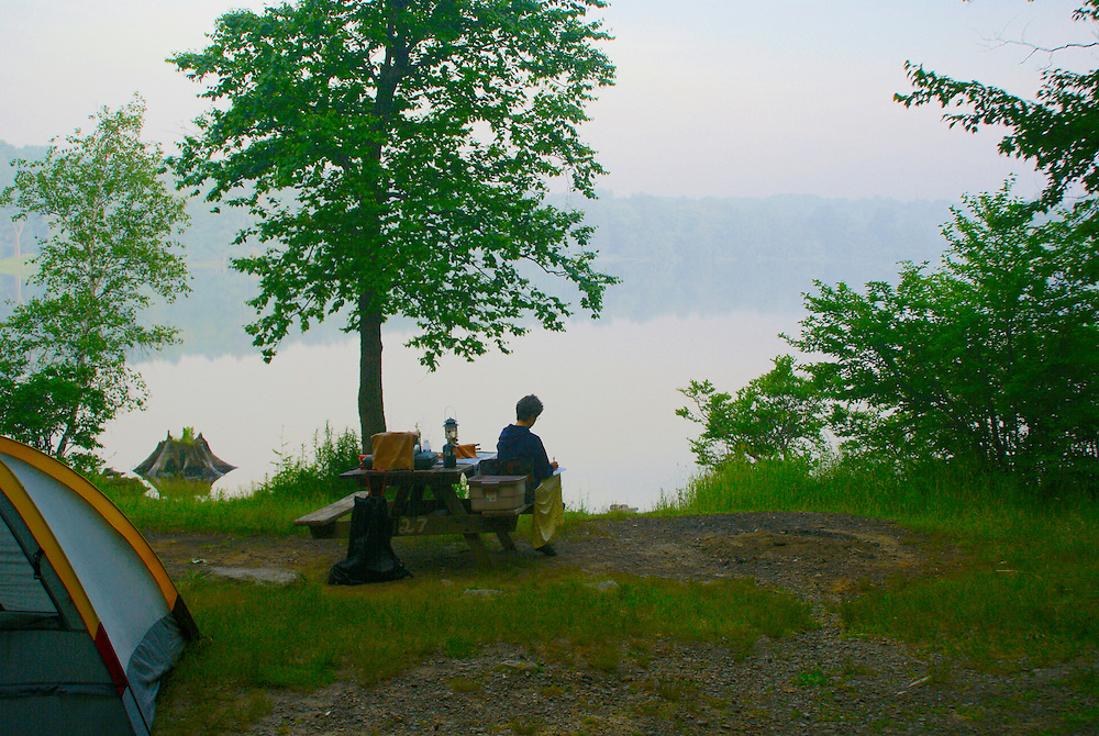Pocono Mountains, Promised Land State Park tent camping, artist sketching