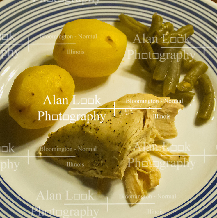 03 January 2015:   Dinner on a plate:  Chicken breast, peppered, yukon gold potatoes and cut green beans on a white colored plate with a dark blue circle pattern on the rim.