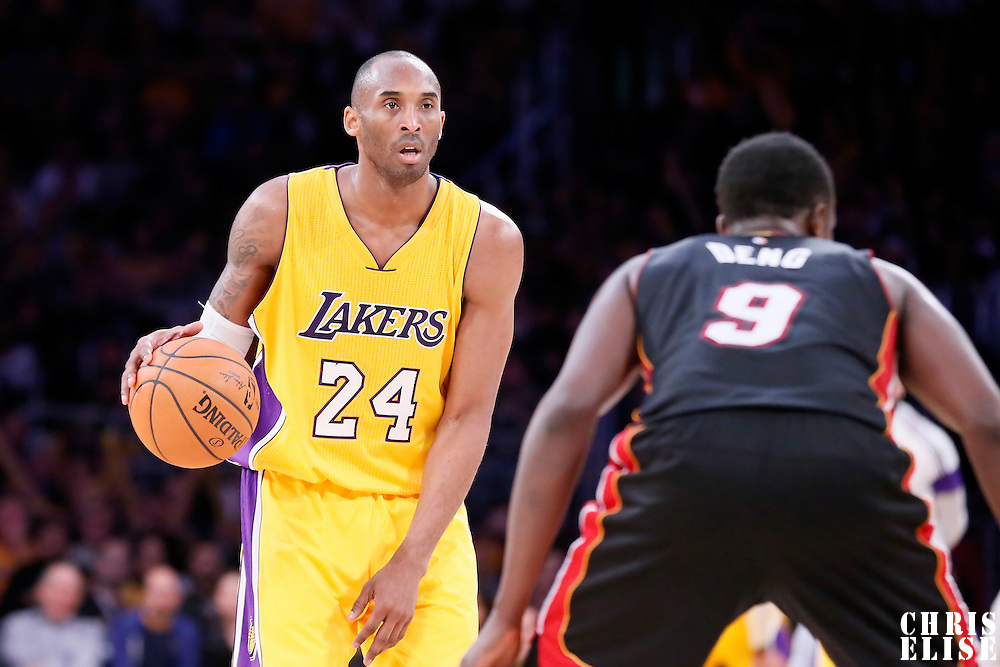 13 January 2014: Los Angeles Lakers guard Kobe Bryant (24) dribbles during the Miami Heat 78-75 victory over the Los Angeles Lakers, at the Staples Center, Los Angeles, California, USA.