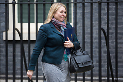 London, UK. 29th January, 2019. Karen Bradley MP, Secretary of State for Northern Ireland, leaves 10 Downing Street following a Cabinet meeting on the day of votes in the House of Commons on amendments to Prime Minister Theresa May's final Brexit withdrawal agreement which could determine the content of the next stage of negotiations with the European Union.