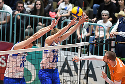 Saso Stalekar and Rok Mozic of Slovenia during friendly volleyball match between National Men teams of Slovenia and Netherlands, on Januar 2nd, 2020, in Dvorana Tabor, Maribor, Slovenia. Photo by Milos Vujinovic / Sportida