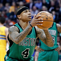 10 March 2017: Boston Celtics guard Isaiah Thomas (4) is seen at the free throw line during the Denver Nuggets 119-99 victory over the Boston Celtics, at the Pepsi Center, Denver, Colorado, USA.