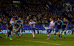 BIRKENHEAD, ENGLAND - Friday, January 4, 2019: Tranmere Rovers' Harvey Gilmour sees his shot go over the bar during the FA Cup 3rd Round match between Tranmere Rovers FC and Tottenham Hotspur FC at Prenton Park. (Pic by David Rawcliffe/Propaganda)