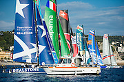 Race start, Day one of the Extreme Sailing Series at Nice. 2/10/2014