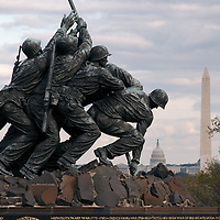 United States Marine Corps War Memorial in Arlington County, Virginia, also known as the Iwo Jima Memorial, with Washington, DC in background.