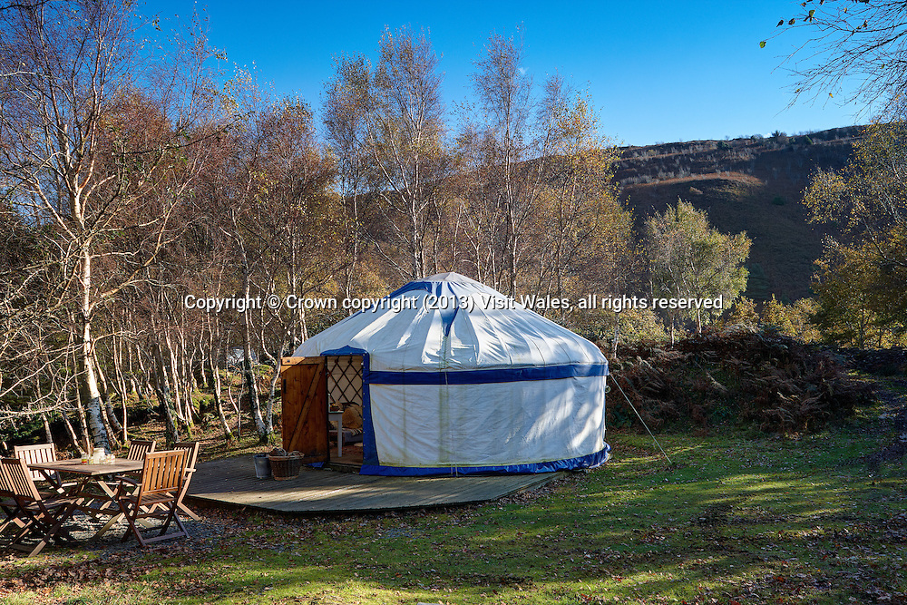 Yurt exterior<br /> Graig Wen<br /> Arthog<br /> Gwynedd<br /> Mid<br /> Self Catering<br /> Camping<br /> Accommodation