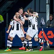 ALMELO, Heracles Almelo - PEC Zwolle, voetbal, Eredivisie seizoen 2015-2016, 06-02-2016, Polman Stadion, Heracles Almelo speler Iliass Ben Hassani (L) heeft de 1-0 gescoord.