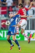 ALKMAAR - 25-08-2016, AZ - Vojvodina, AFAS Stadion, Vojvodina speler Micic Dusan, AZ speler Stijn Wuytens