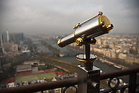 An observation telescope at the Eiffel Tower, Paris, France