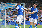 Sheffield Wednesday forward Lucas Joao (18) celebrates his equalising goal 2-2 during the EFL Sky Bet Championship match between Sheffield Wednesday and Sheffield Utd at Hillsborough, Sheffield, England on 24 September 2017. Photo by Phil Duncan.