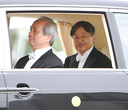 May 1, 2019 - Tokyo, Japan - Japan's new emperor, Naruhito rides on a veicle in front of the Japanese Imperial Palace in Tokyo Japan on Wendnesday, May 1, 2019. Naruhito ascends the Chrisanthemum throne in a very different Japan to the one his father took over in 1989. Photo by: Ramiro Agustin Vargas Tabares (Credit Image: © Ramiro Agustin Vargas Tabares/ZUMA Wire)