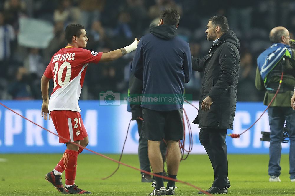 December 6, 2017 - Na - Porto, 06/12/2017 - Football Club of Porto received, this evening, AS Monaco FC in the match of the 6th Match of Group G, Champions League 2017/18, in Estádio do Dragão. Rony Lopes; Sérgio Conceição at the end of the game  (Credit Image: © Atlantico Press via ZUMA Wire)
