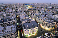 France. Paris. 4th district. Elevated view.  Paris cityscape view from Saint jacques tower.
