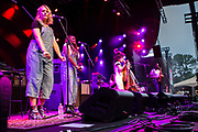 Brooklyn, NY - 28 July 2017. A crowd estimated at 9,000 filled the Prospect Park Bandshell, with an estimated 3,000 outside the fence, for a concert by Esperanza Spalding and Andrew Bird at the BRIC Celebrate Brooklyn! Festival. Espereaza Spallding and her band on stage.