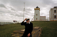 Principal Lighthousekeeper Bruce Brown, pictured at Duncansbyhead lightouse, John O'Groats, on his last day of duty before the light was automated by the Northern Lighthouse Board..