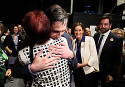 Minister for Health Simon Harris embraces feminist and lesbian activist Ailbhe Smyth, Together For Yes, on arrival at the count centre in Dublin's RDS as votes are counted in the referendum on the 8th Amendment of the Irish Constitution which prohibits abortions unless a mother's life is in danger. Picture date: Saturday May 26, 2018. See PA story IRISH Abortion. Photo credit should read: Brian Lawless/PA Wire