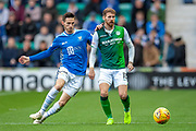 Scott Tanser (#3) of St Johnstone FC and Martin Boyle of (#10) Hibernian FC during the Ladbrokes Scottish Premiership match between Hibernian and St Johnstone at Easter Road, Edinburgh, Scotland on 3 November 2018.