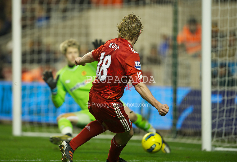 WOLVERHAMPTON, ENGLAND - Tuesday, January 31, 2012: Liverpool's Dirk Kuyt scores the third goal against Wolverhampton Wanderers during the Premiership match at Molineux. (Pic by David Rawcliffe/Propaganda)