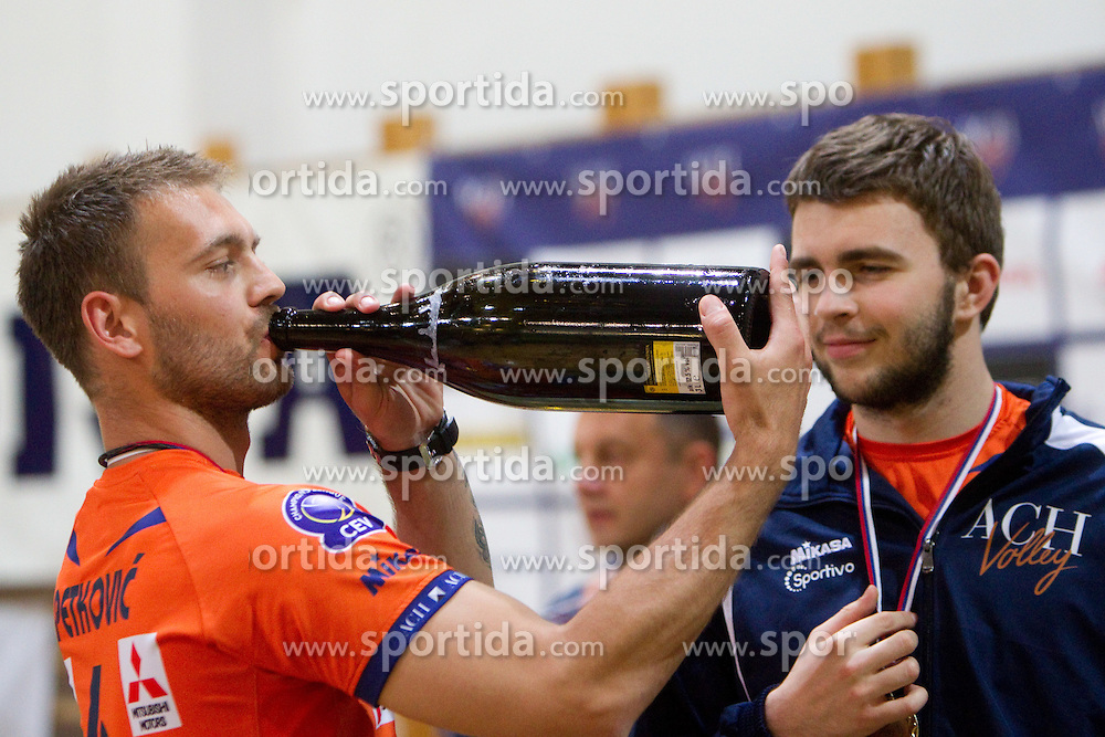 Vlado Petkovic and Uros Kovacevic of ACH celebrate after the volleyball match between ACH Volley Bled and UKO Kropa at final of Slovenian National Championships 2011, on April 27, 2011 in Arena SGTS Radovljica, Slovenia. ACH Volley defeated Kropa 3-0 and became Slovenian National Champion 2011. (Photo By Vid Ponikvar / Sportida.com)