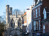 View down North Bar Within at Beverley showing the west end of Saint Mary's Church, Yorkshire, UK