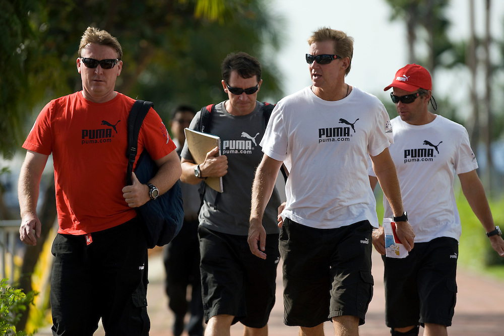 06JAN09.  From left Andrew Cape (navigator), Will Oxley (strategist), Ken Read (skipper), and Chris Nicholson (watch captain)