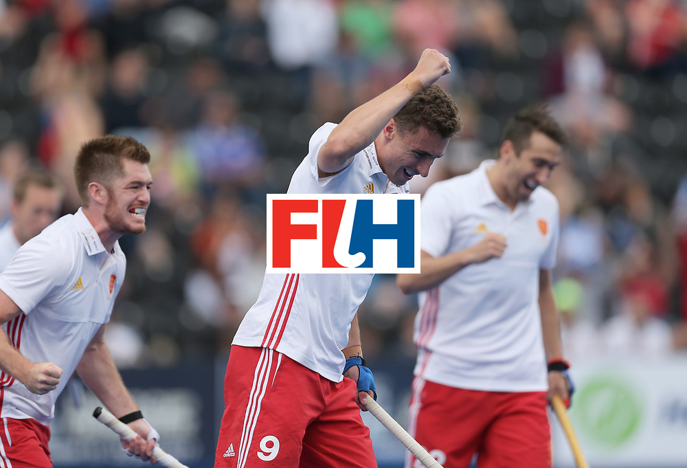 LONDON, ENGLAND - JUNE 25: Harry Martin of England celebrates scoring their teams first goal during the 3rd/4th place match between Malaysia and England on day nine of the Hero Hockey World League Semi-Final at Lee Valley Hockey and Tennis Centre on June 25, 2017 in London, England. (Photo by Alex Morton/Getty Images)