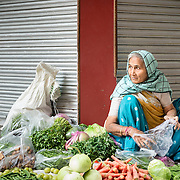 Vegetable seller in Chandni Chowk, Old Delhi