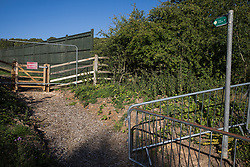 Great Missenden, UK. 17th July, 2020. A public footpath closed for works on the HS2 Great Missenden Haul Road. The Department for Transport approved the issuing of Notices to Proceed by HS2 Ltd to the four Main Works Civils Contractors (MWCC) working on the £106bn high-speed rail link project in April 2020.