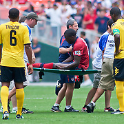 United States Attacker Josmer Altidore #17 is carried off the field on a stretcher in the first half of the concacaf gold cup quarterfinals match verses Jamaica. The United State would go on to to defeat Jamaica 2-0 in the concacaf gold cup quarterfinals Sunday, June 19, 2011 at RFK Stadium in Washington DC.