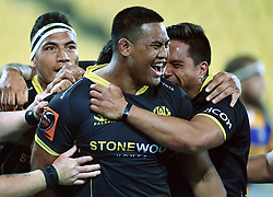 Wellington's Julian Savea celebrates his try against Bay of Plenty in the Mitre 10 Rugby Final  Championship match at Westpac Stadium, Wellington, New Zealand, Friday, October 27, 2017. Credit:SNPA / Ross Setford  **NO ARCHIVING**