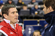 Nigel Clough, Manager of Sheffield United (left), and Mauricio Pochettino, Manager of Tottenham Hotspur (right), before the Capital One Cup Semi-Final 1st Leg match between Tottenham Hotspur and Sheffield Utd at White Hart Lane, London, England on 21 January 2015. Photo by David Horn.