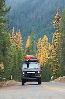 VW Syncro van driving near Mt Rainier, WA.