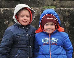 Matthew Moran and Joshua Moran supporting Westport United at the Sportspark Westport during the FAI junior cup match against Freebooters FC.<br /> Pic Conor McKeown