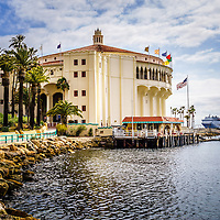 Picture of Avalon Casino on Catalina Island. The Avalon Casino is a historic art deco movie theatre built in 1929 by the Wrigley family. Catalina Island is a popular travel desination off the coast of Southern California in the United States.