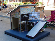 "Jun 13, 2011 - Vancouver, BC, Canada - <br /> <br /> This aluminum ""Pet Camper,"" based on a classic American caravan, was created by Canadian furniture designer Judson Beaumont as a mobile kennel for for his daughter's pooch. It proved so popular, Beaumont went on to make 24 more which sold for £1,500 each.<br /> <br /> The other designs are part of the annual ""Barkitecture"" contest in Austin, Texas, where creative craftsmen compete for top dog status in the world of cutting-edge canine accommodations.<br /> ©Excluisvepix"