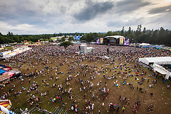 Rudimental on the main stage as seen from the ferris wheel.  Friday, 10th July 2015, First day at T in the Park 2015, at its new home at Strathallan Castle.