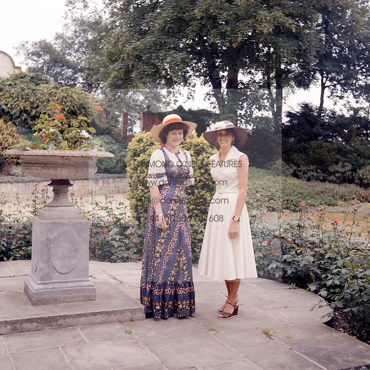 Paddock Wood Finishing School girls photographed before visiting Royal Ascot on 17th June 1976.