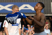 Photo: Ashley Pickering.<br /> Ipswich Town v Derby County. Coca Cola Championship. 14/04/2007.<br /> Danny Haynes of Ipswich celebrates at the final whistle after scoring the winning goal