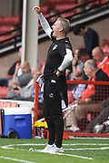 Oldham Athletic manager John Sheridan gives instructions 0-0 during the EFL Sky Bet League 1 match between Walsall and Oldham Athletic at the Banks's Stadium, Walsall, England on 12 August 2017. Photo by Alan Franklin.