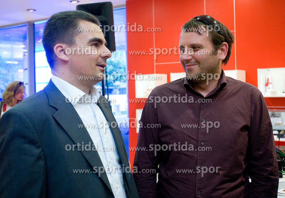 Danilo Tomsic, sales director in Mobitel d.d. and Jure Teodorovic of Mobitel d.d. at visit  of Slovenian National Football team in Mobitel center, on May 19, 2010 in Ciytpark, BTC, Ljubljana, Slovenia. (Photo by Vid Ponikvar / Sportida)