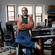 Budget Case Study : Davinder Samrai - Business owner in his Glasgow design studios. Picture Robert Perry  for The Times 8th July 2015