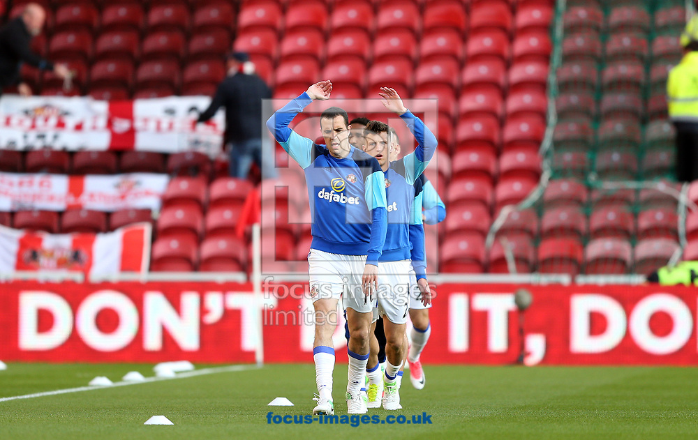 Sunderland players warm up prior to the Premier League match at the Riverside Stadium, Middlesbrough<br /> Picture by Christopher Booth/Focus Images Ltd 07711958291<br /> 26/04/2017