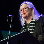 Gillian Clarke, poet. Shore To Shore. Poets Carol Ann Duffy, Jackie Kay, Gillian Clarke, Imtiaz Dharker, Tariq Latif and musician John Sampson perform at the Burgh Halls, Dunoon at the end of Independent Bookshop Week. 23 Jun 2018. Credit: Photo by Tina Norris. Copyright photograph by Tina Norris. Not to be archived and reproduced without prior permission and payment. Contact Tina on 07775 593 830 info@tinanorris.co.uk <br /> www.tinanorris.co.uk