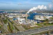 Nederland, Noord-Holland, Amsterdam, 09-04-2014; Westpoort, ringweg A10 (A10 West) ter hoogte van centrale Hemweg met daar achter de Jan van Riebeckhaven.<br /> Port of Amsterdam with Hemweg power plant.<br /> luchtfoto (toeslag op standard tarieven);<br /> aerial photo (additional fee required);<br /> copyright foto/photo Siebe Swart