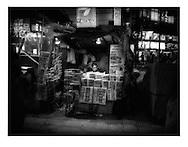 Newsstand at night, Shinjuku, Tokyo, Japan.