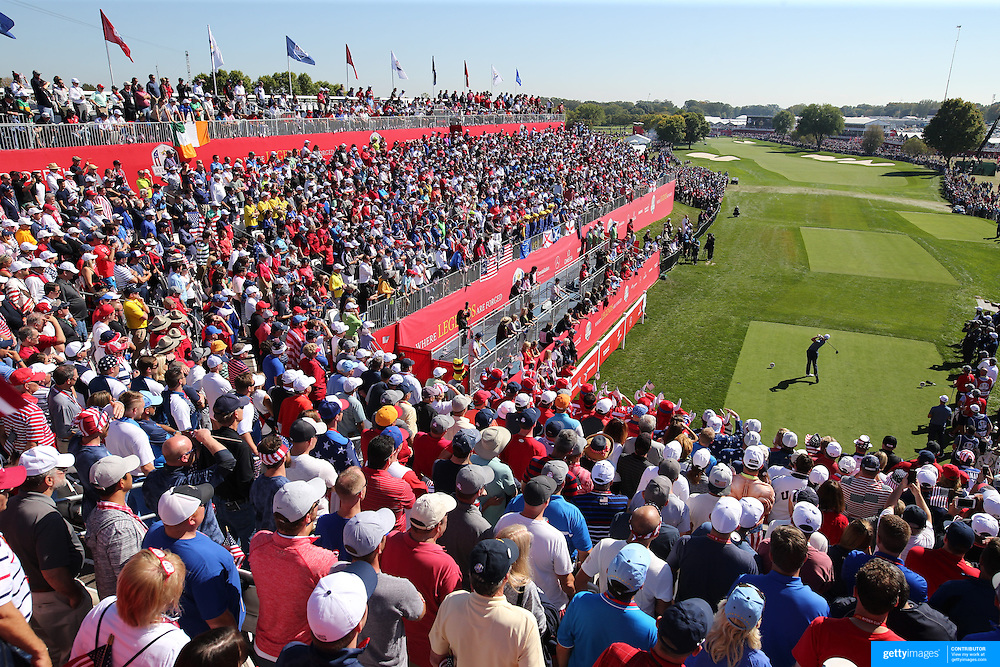 Ryder Cup 2016. Day One. Danny Willett of Europe tees off at the first hole in the Friday afternoon four ball during the Ryder Cup competiton at the Hazeltine National Golf Club on September 30, 2016 in Chaska, Minnesota.  (Photo by Tim Clayton/Corbis via Getty Images)