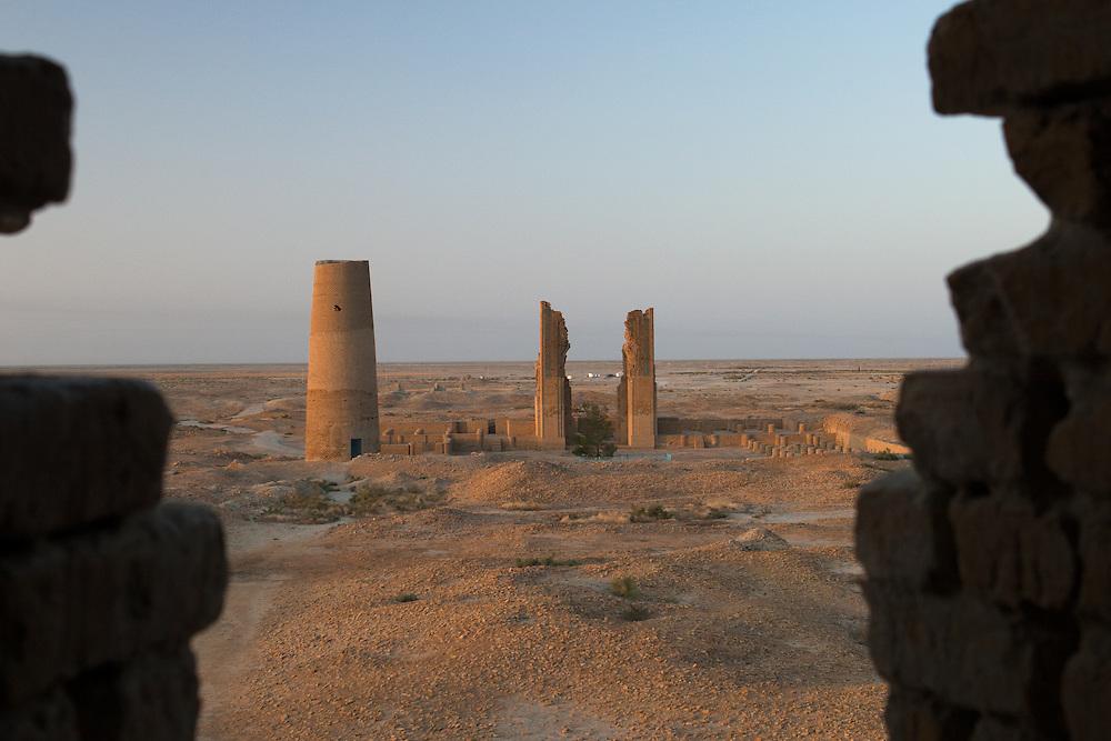 The view at dawn of Dekhistan, Turkmenistan from the Abu-Jafar Akhmed minaret