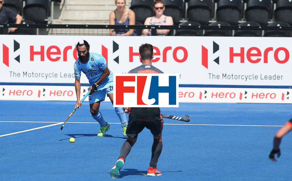 LONDON, ENGLAND - JUNE 20: Jasjit Singh Kular of India during the Pool B match between India and the Netherlands on day six of the Hero Hockey World League Semi-Final at Lee Valley Hockey and Tennis Centre on June 20, 2017 in London, England.  (Photo by Alex Morton/Getty Images)